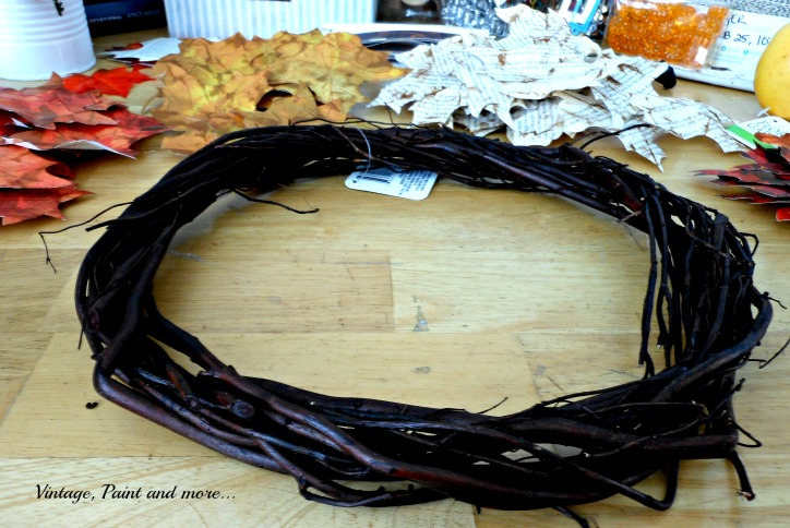 Vintage, Paint and more... fall wreath made from grapevine and paper leaves