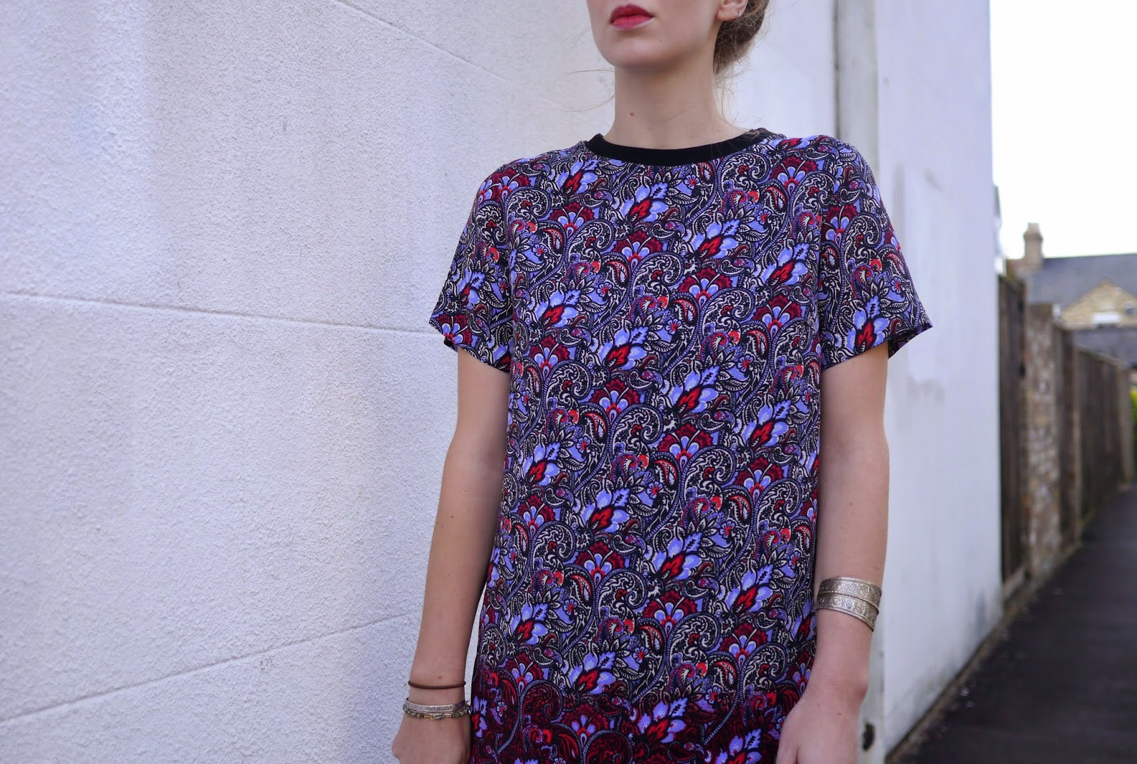 New Look High Neck Floral Tshirt Smock Dress with Silver Cuff