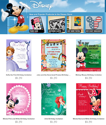 Disney Invitations, Ariel, Minnie Mouse, Frozen