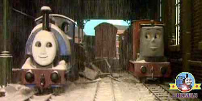 Tank engine Rusty the little diesel and Sir Handel the train banged his trucks in shock flour flew