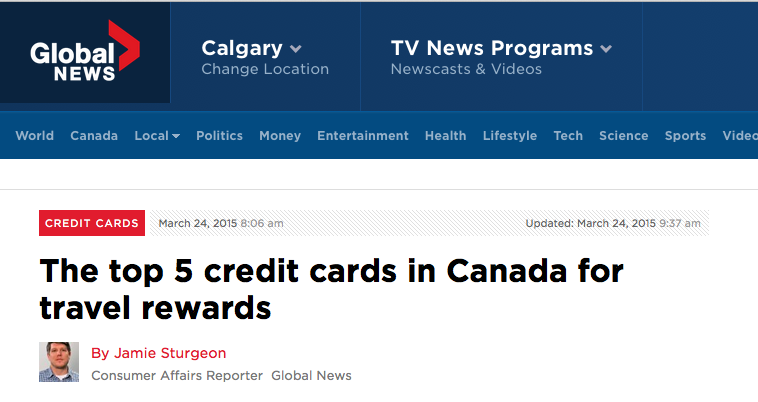 http://globalnews.ca/news/1899899/the-top-5-travel-rewards-credit-cards-in-canada-ranked/