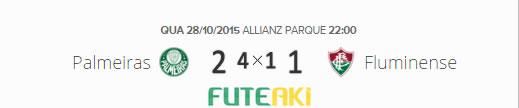 O placar de Palmeiras (4)x(1) Fluminense pela semifinal da Copa do Brasil 2015