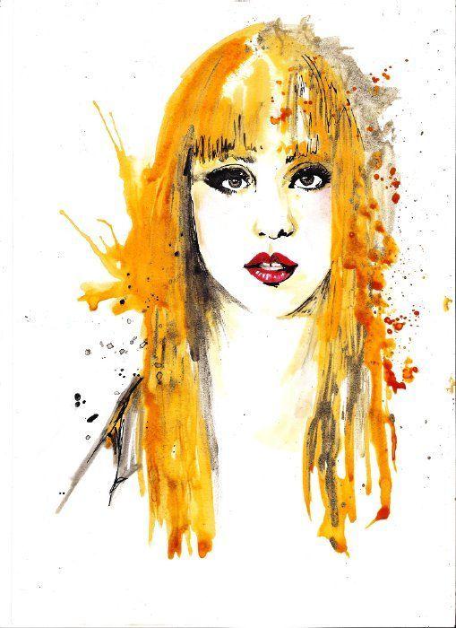 LADY GAGA WATER COLOR YELLOW HAIR