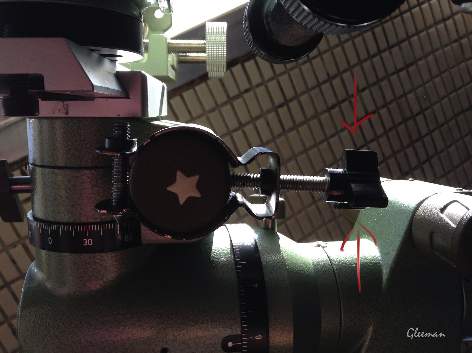 [Pentax MS-3赤道儀] 手動導星 manual guiding,用轉的經常會轉過頭,所以改裝成用食指來敲。