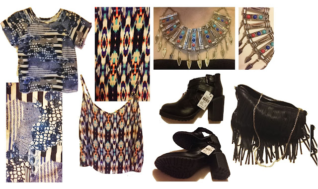 primark, hnm, h&m, fringed bag, abstract pattern, geometric pattern, cami top, cutout boots, cut-out, aztec necklace, costume jewellery
