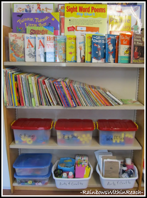 photo of: Bookshelf Organized for Preschool Classroom: mixing books and toys