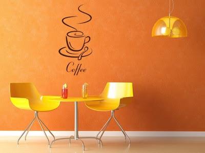 stickers vinyl - orange-Coffee-vinyl-wall-decal-for-minimalist-interior-design