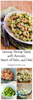 Lemony Shrimp Salad with Avocado, Heart of Palm, and Feta [from KalynsKitchen.com]