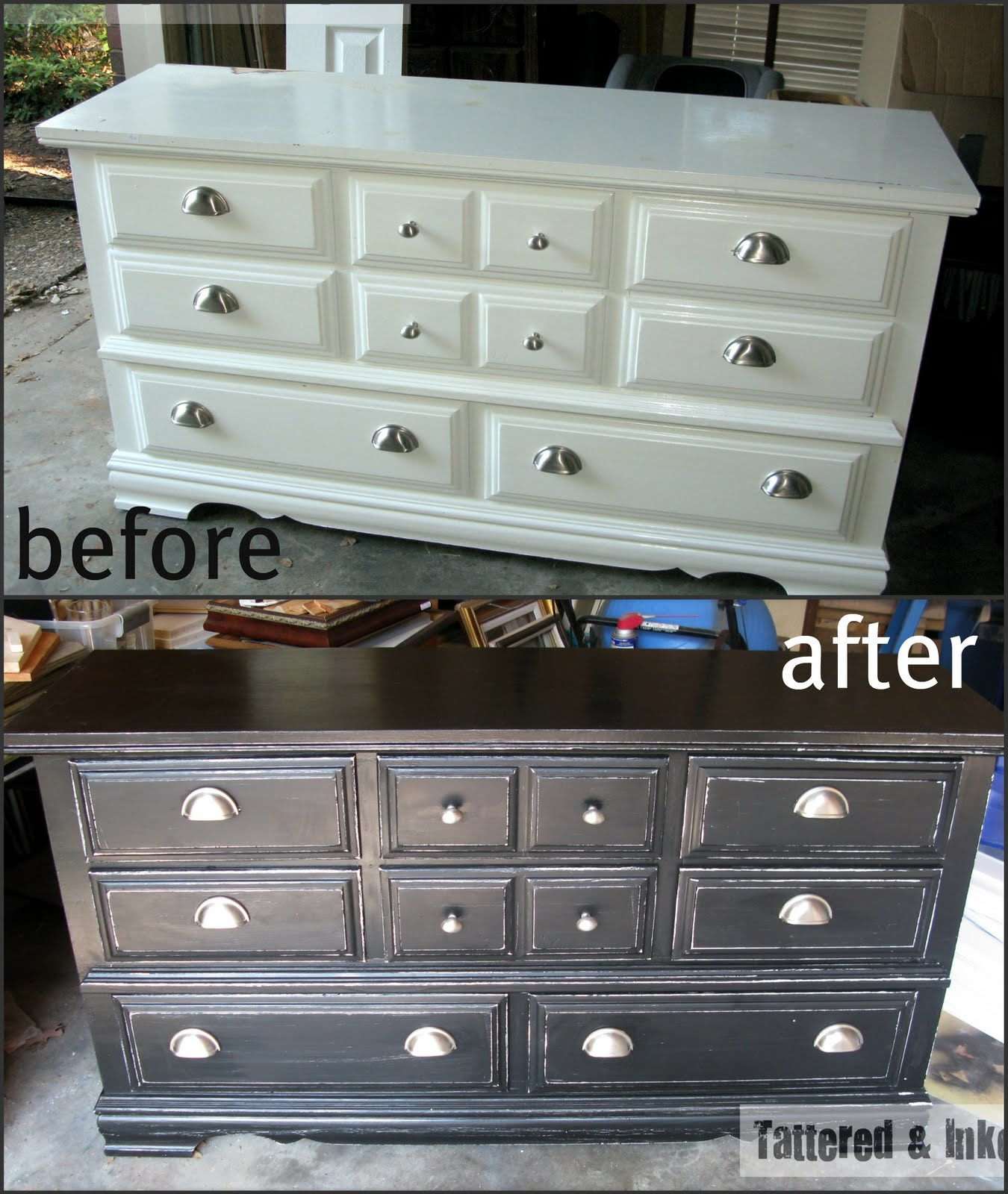 Tattered And Inked Black Amp White Distressed Dresser