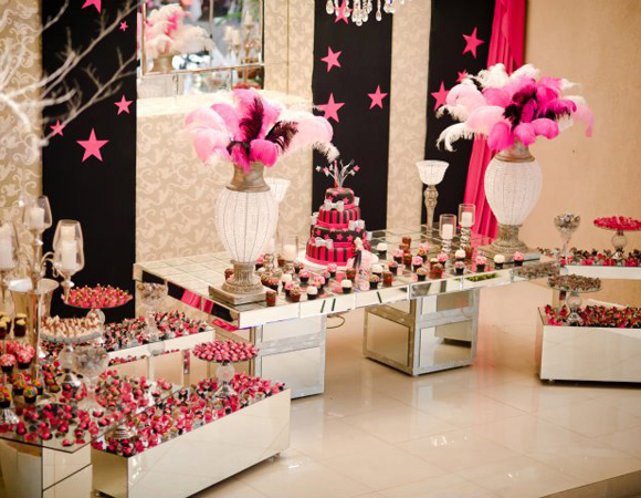 decoracao rosa branco e preto:Pop Paper Box: Festa de 15 anos – Decoração Rosa e Preto