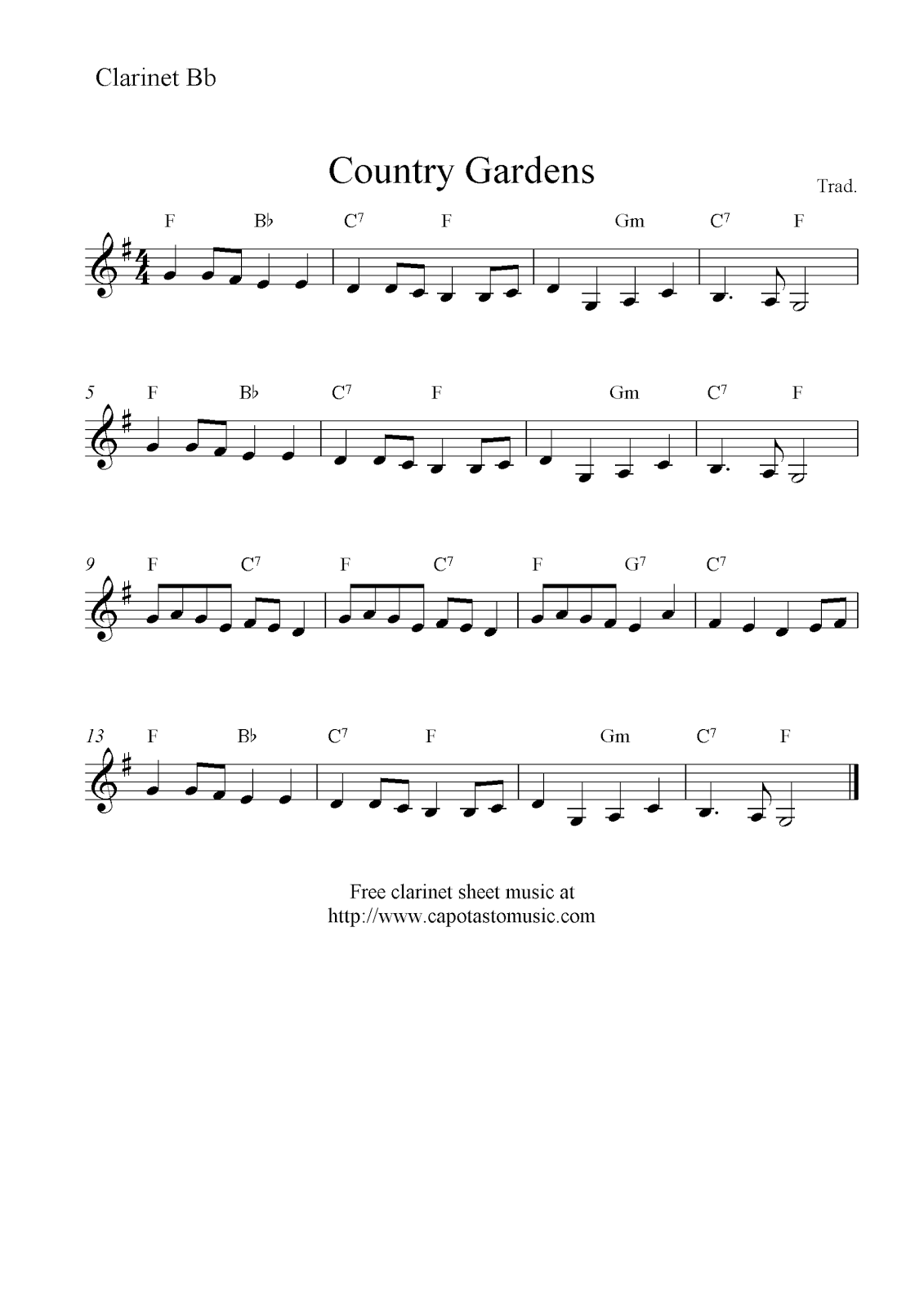 Country gardens free clarinet sheet music notes