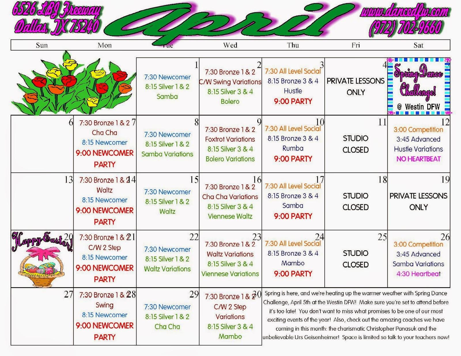 dance class schedule template