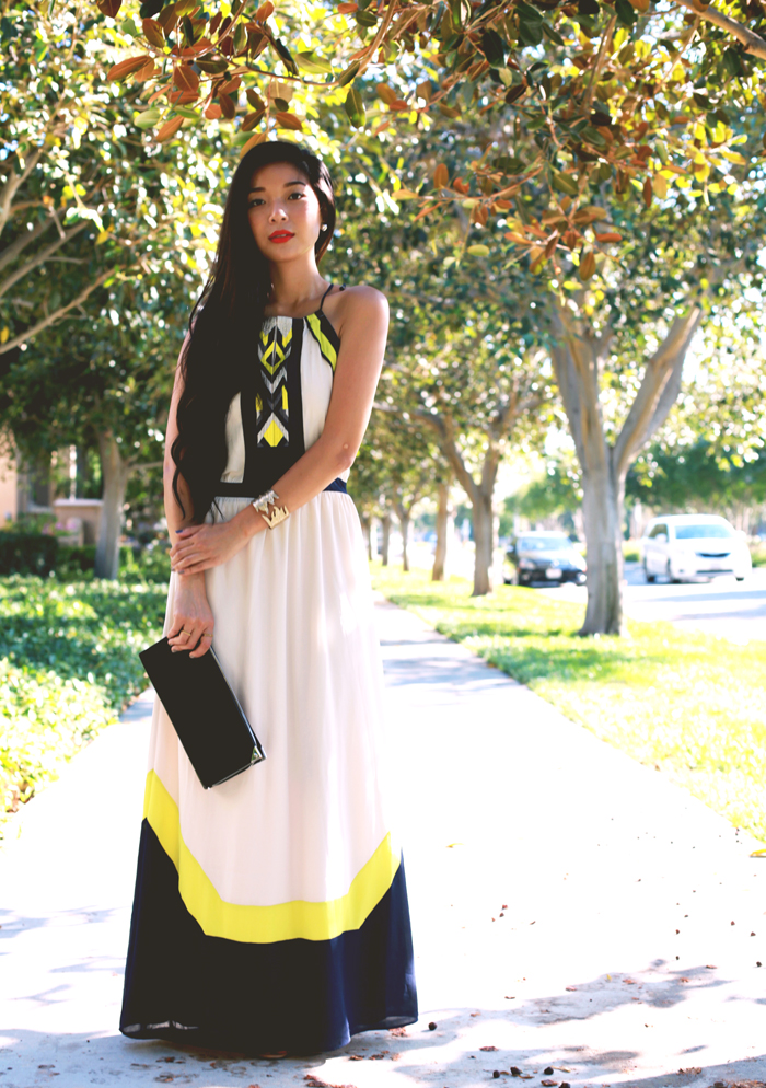 Stephanie Liu of Honey & Silk wearing Greylin dress, Tacori earrings, Shoemint heels, and Alexander Wang clutch