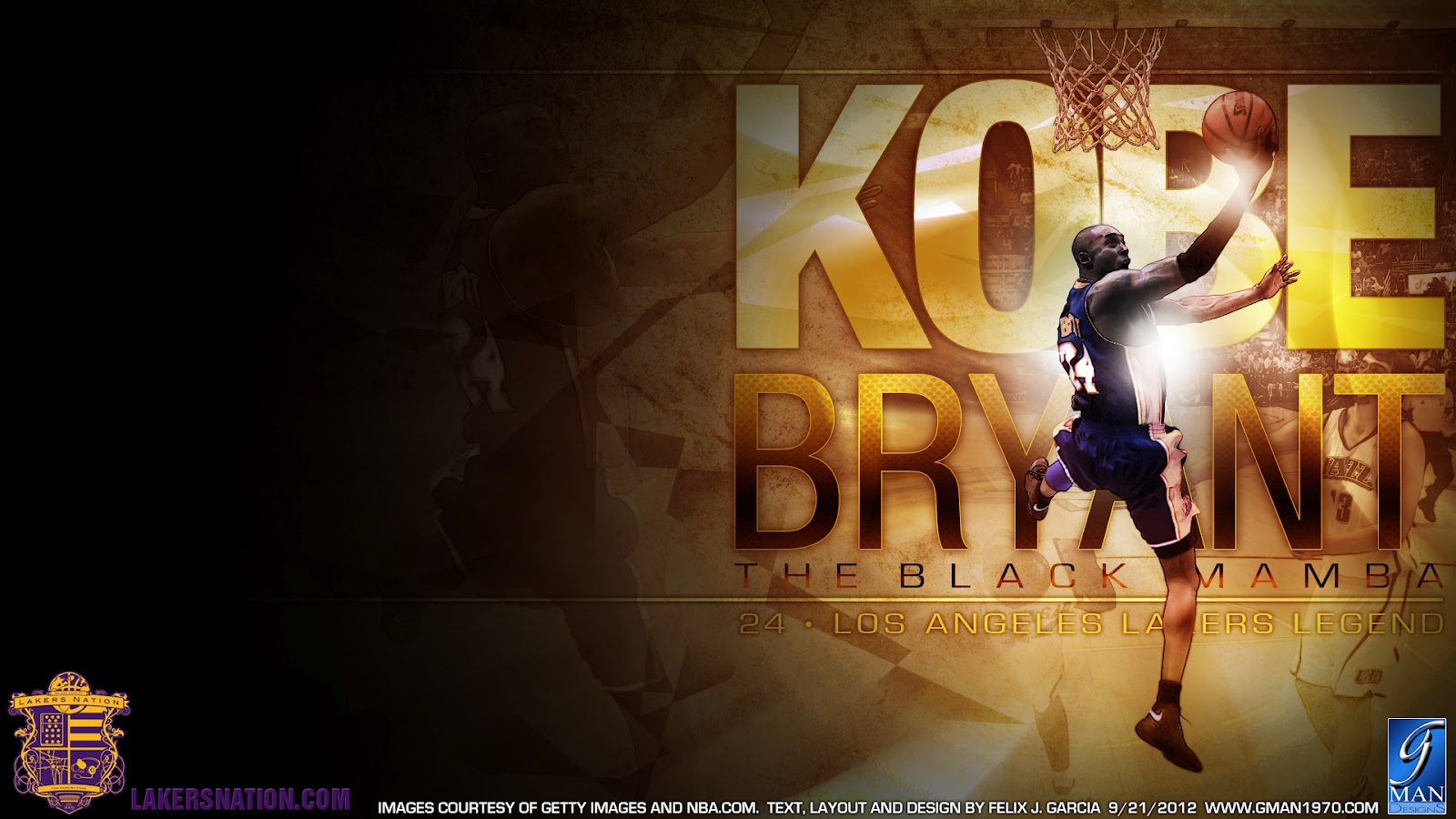 KOBE BRYANT BLACK MAMBA LAKERS LEGEND WALLPAPER