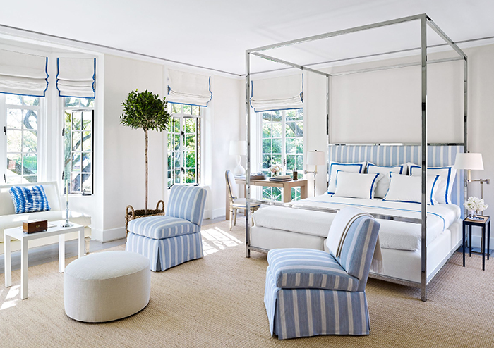 Blue and white bedroom from October 2015 Architectural Digest designed by Bruce Budd