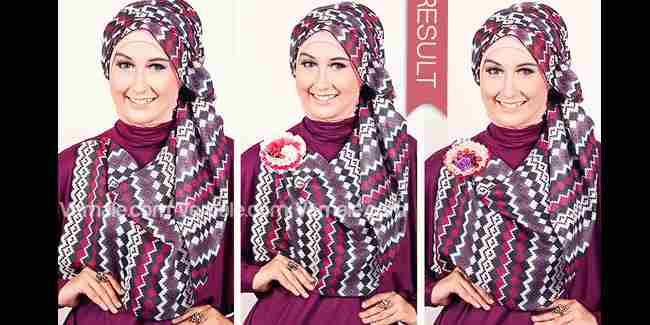 Cara Memakai Gaya Jilbab Motif Tribal