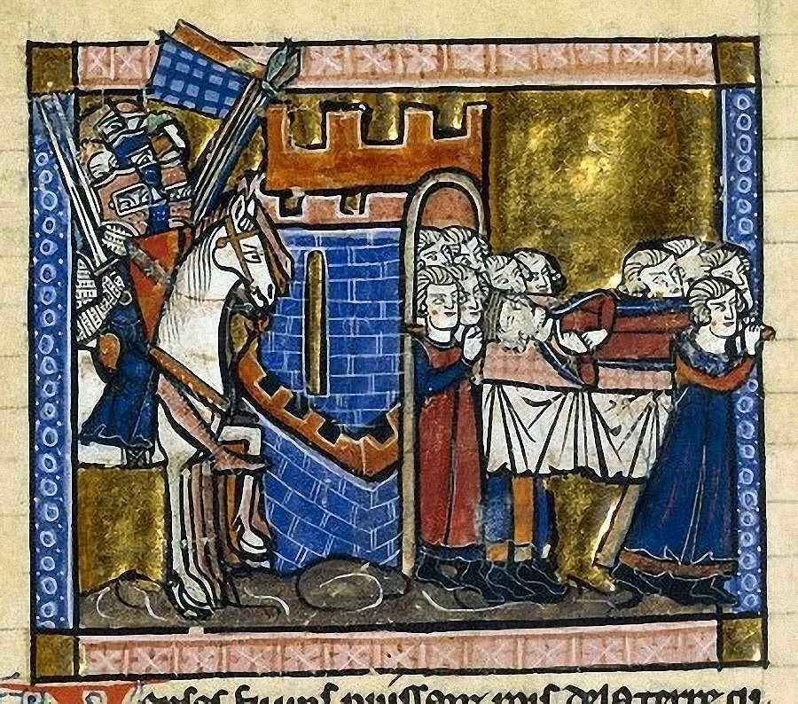 Balduíno I rei de Jerusalém, sucessor de Godofredo de Bouillon. Bibliothèque Nationale, Paris, MS Fr 2630