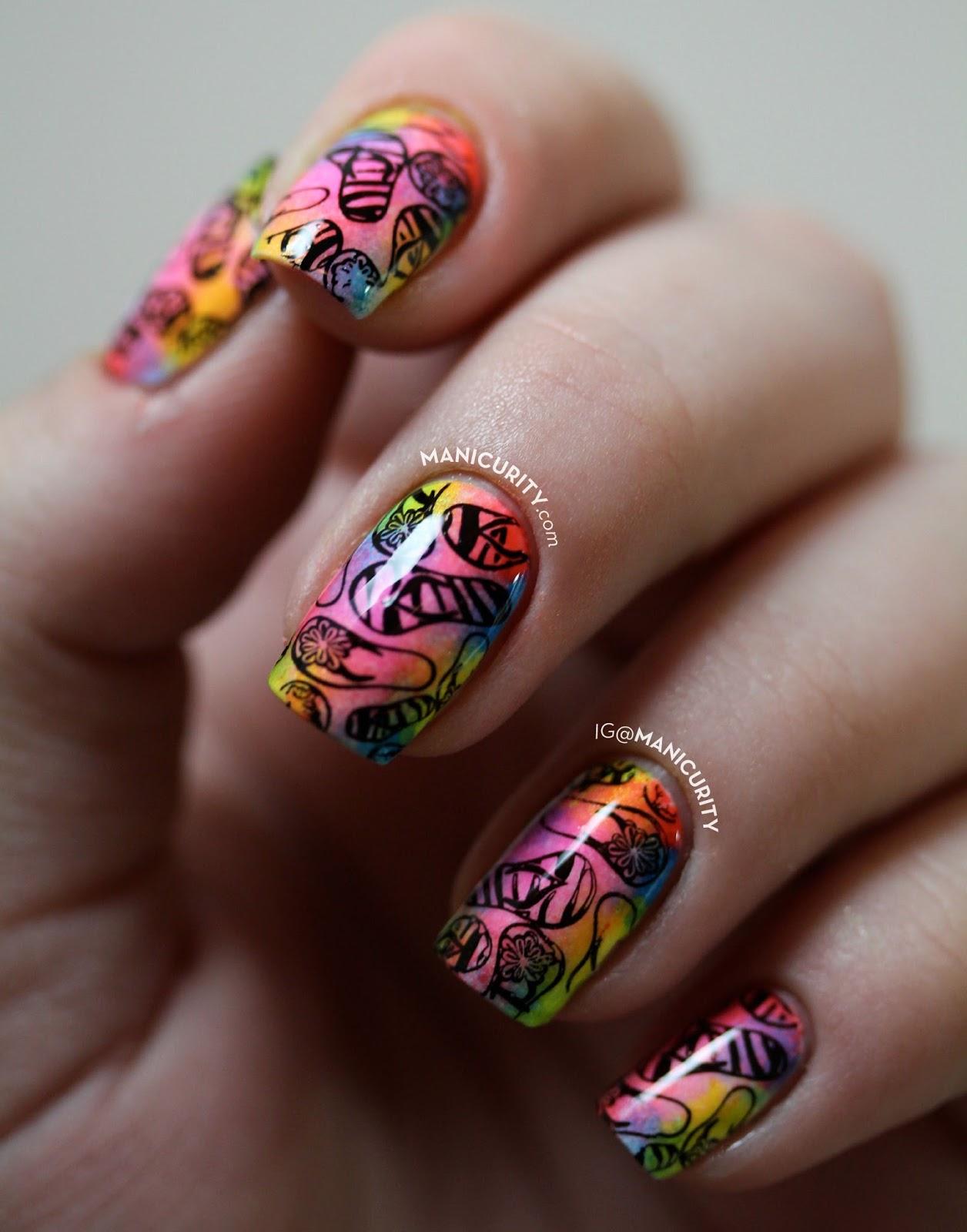 The Digit-al Dozen: Soft Tie Dye Neon Flip Flop Nail Art - inspired by neon summer pedicures! | Manicurity.com @emmathea