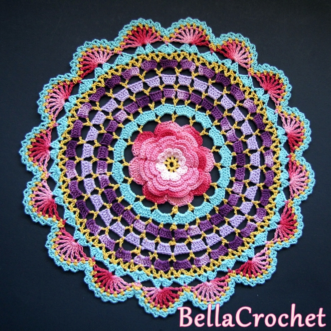 ... : Radiant Rose Mandala Doily: A Free Crochet Pattern For You