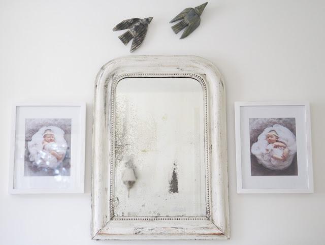Baby photos, birds, Louis Phillipe mirror; Nursery in the Nest; Nora's Nest