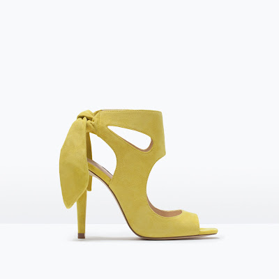 Zara yellow heels with bow at the back