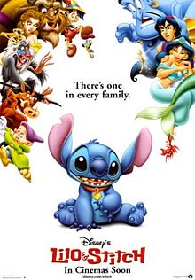 Movie poster showing Stitch encircled by other Disney characthers.