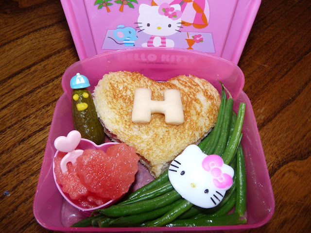 letter H bento lunch hello kitty