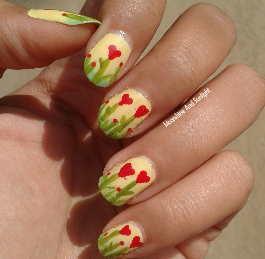 Heart Flowers Nail Art Step By Step Tutorial Mnsnails Moonshine