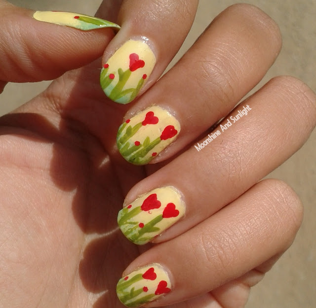 Heart Flowers Nail Art | Step By Step Tutorial #MNSNails - Moonshine ...
