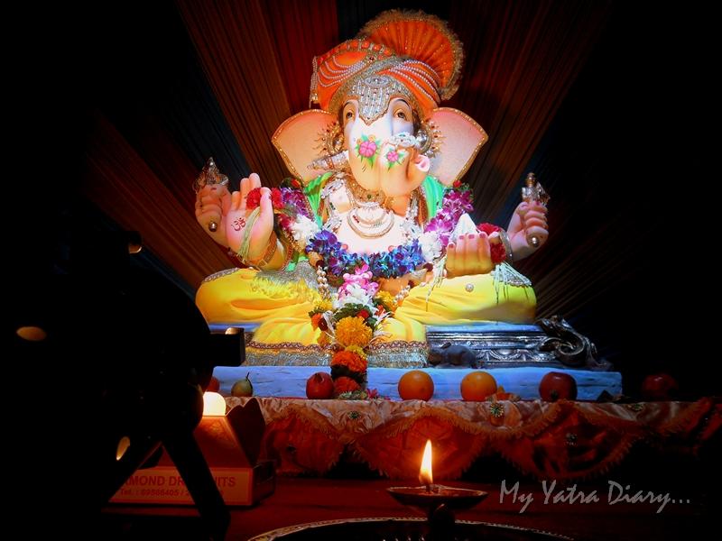 Lighted diya at Ganesh Pandal Hopping, Mumbai