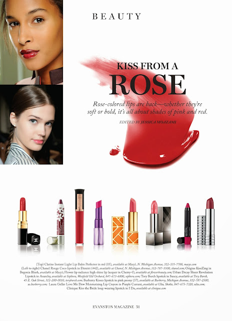 A Kiss From A Rose, rose-colored lips a big Spring trend feature in Evanston Magazine by Jessica Moazami