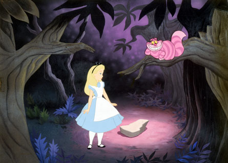Alice and Cheshire Cat Alice in Wonderland 1951 animatedfilmreviews.blogspot.com