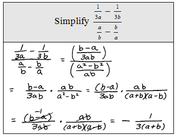 reciprocal of fractions with variables