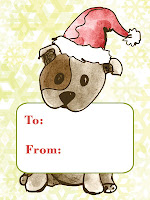 christmas gift tag cute chic sassy dog