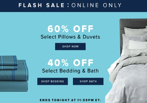 Hudson's Bay Flash Sale 60% Off Pillows & Duvets + 40% Off Bedding & Bath