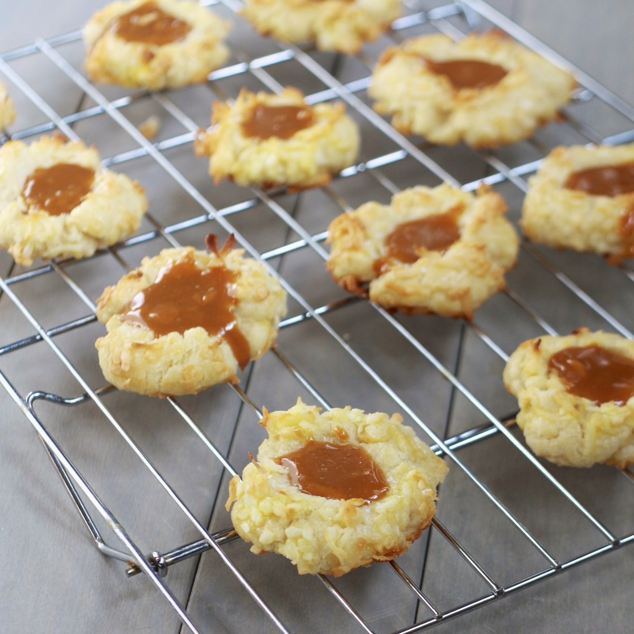 coconut caramel thumbprint cookies