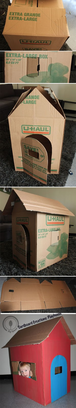 Cardboard Creations - Easy DIY Cardboard Playhouse Doghouse
