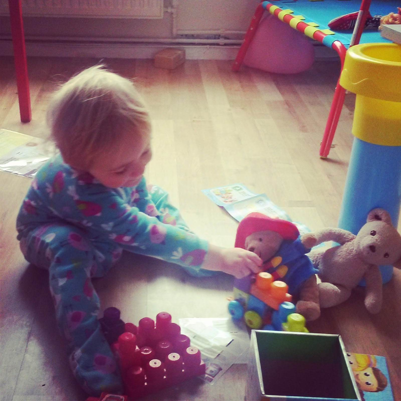 Paddington and Steiff Teddy playing Mega Bloks