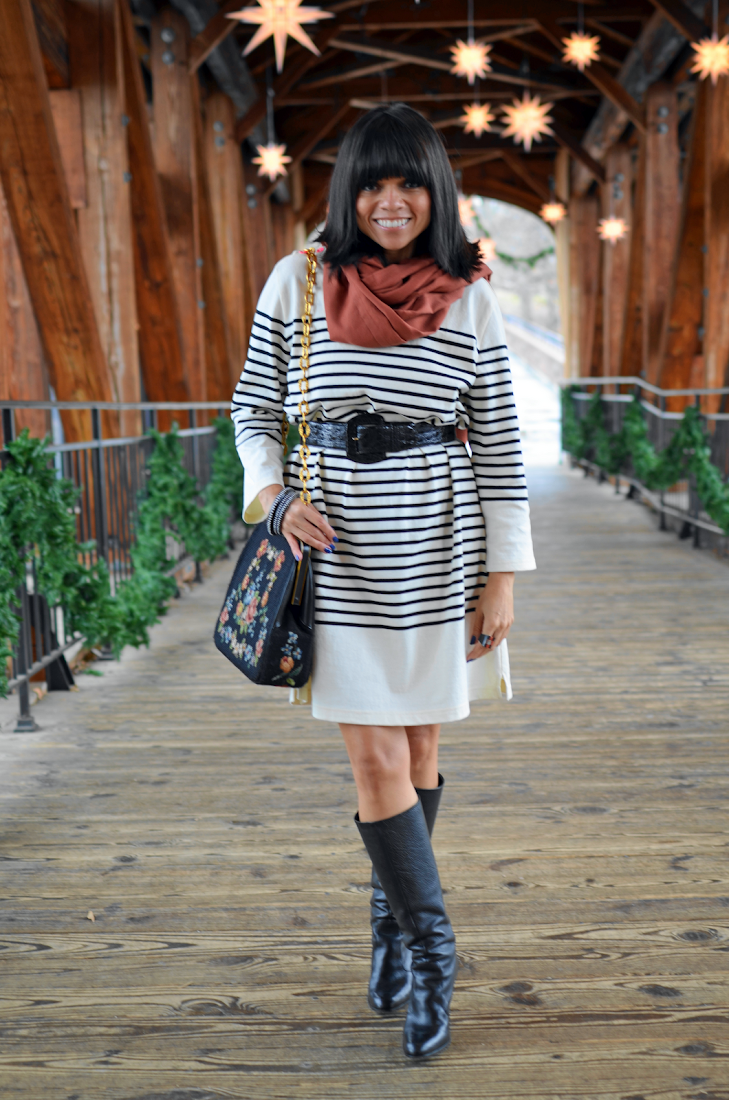 Striped Sweater Dress Tall Black Boots