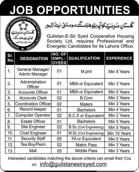 Admin & Accounts Jobs at Gulistan E Sir Syed Housing Society Lahore
