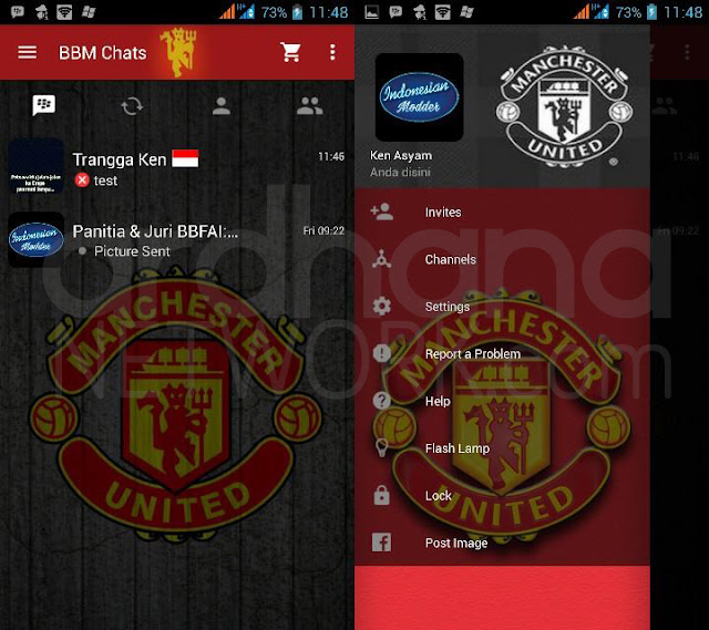 Preview BBM Manchester United - BBM Android V2.10.0.35