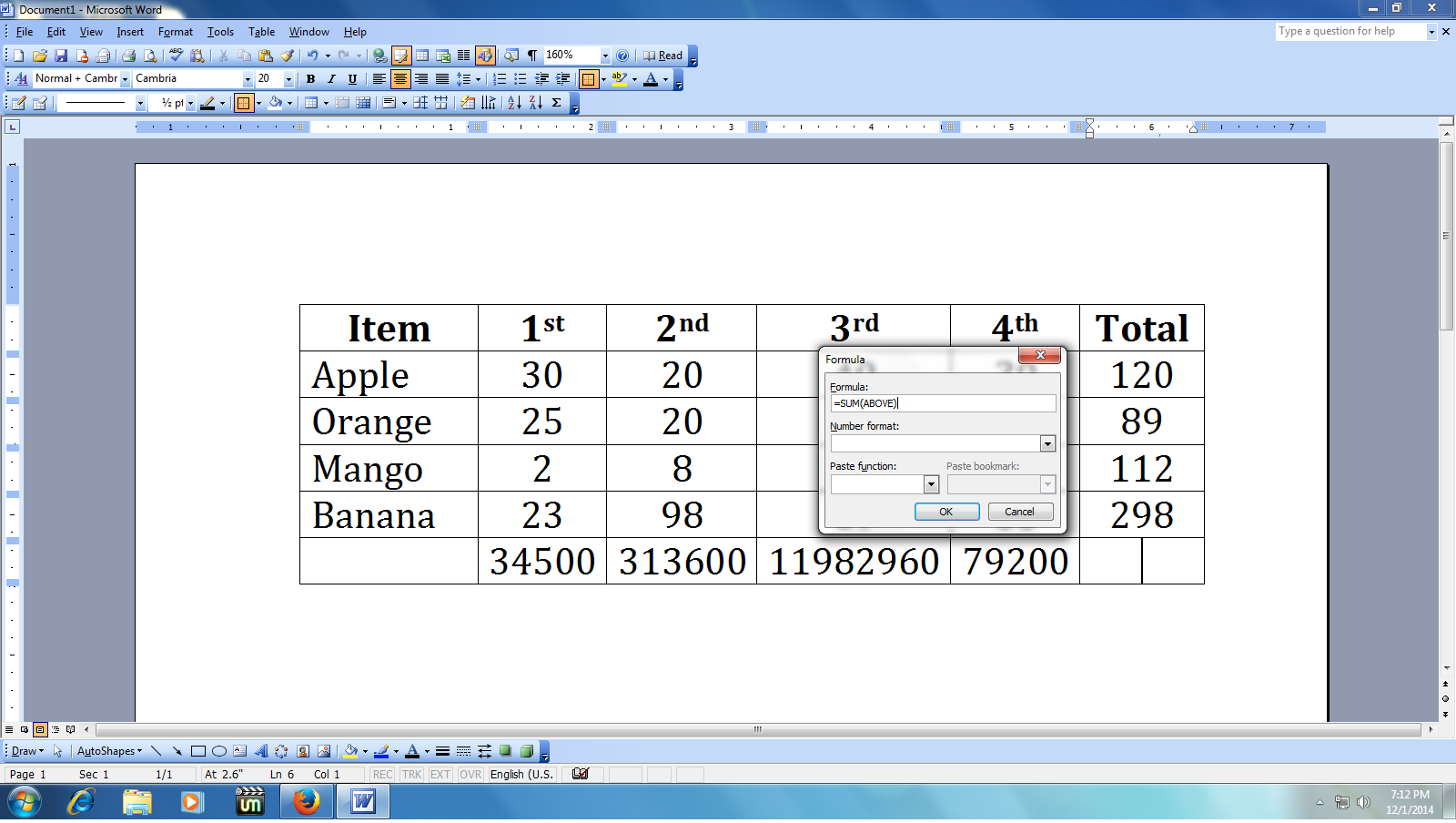 How to Do Calculation in MS Word