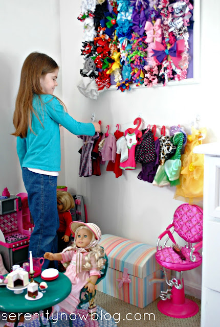 "Make your own ""Clothesline"" display for American Girl Doll Clothes, from Serenity Now"