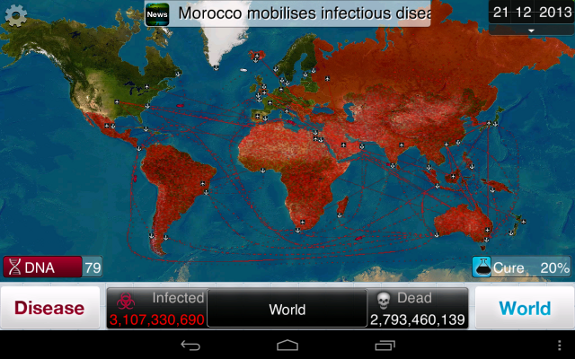 you'll spend a lot of time jumping between menus, Plague Inc