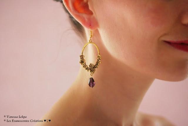 Vanessa Lekpa : bijoux et boucles d'oreille style vintage féérique et bohème avec estampe a fleur or vieilli bronze et perle de cristal violet