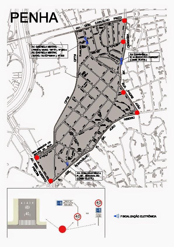Mapa da nova Área 40 na região da Penha