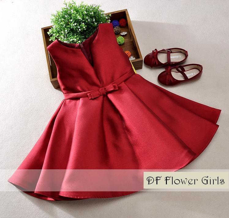 Red Flower Girls Retro Flare Dress