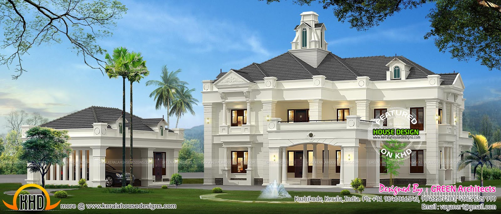 Colonial style indian house kerala home design and floor for Colonial house style