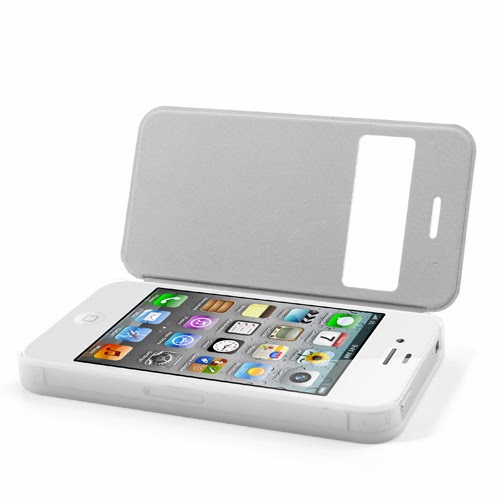 Window View Leather Flip Cover with Transparent Back Case for iPhone 4 4S - White