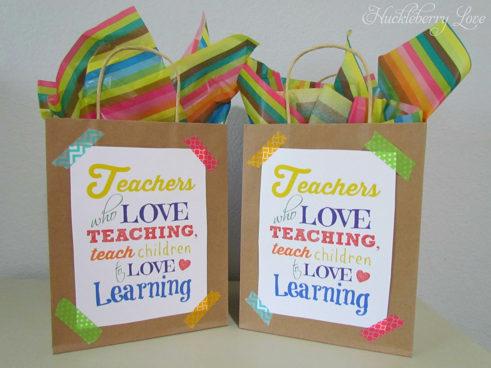 Bags for school teachers - Simple Teacher Gift Bags And A Free Printable